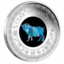 2019 Australian Opal Lunar PIG, 1oz Silver Proof Coin FREE EXPRESS POST