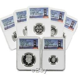 2019 First Day of Issue 999 Silver Proof Set 7-Coin NGC Bridge Label