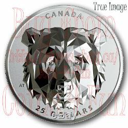 2019 Grizzly Bear Multifaceted Animal Head #2 $25 EHR Proof Pure Silver Coin