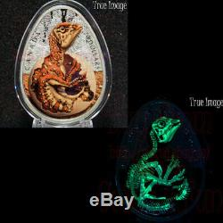 2019 Hatching Hadrosaur Dinosaur Egg $20 Glow-In-The-Dark Pure Silver Proof Coin