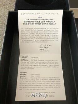 2019- P Apollo 11 50th Anniversary Proof 5 Oz. Silver Coin Ngc Pf69 Uc & Ogp