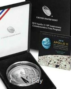 2019-P Proof 5oz Silver Apollo 11 50th Anniversary coin- COA and packaging