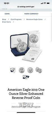 2019-S American Eagle One Ounce Silver Enhanced Reverse Proof Coin 19XE SEALED