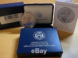 2019 S American Eagle One Ounce Silver Enhanced Reverse Proof Coin 19xe Coa 9g
