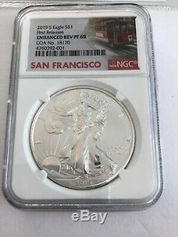 2019-S American Eagle One Ounce Silver Enhanced Reverse Proof Coin NGC PF68 FR
