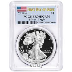 2019-S Proof $1 American Silver Eagle PCGS PR70DCAM FDOI Flag Label