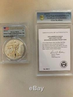 2019-S Silver Eagle Enhanced Reverse Proof Coin PCGS PR70 First Strike Flag