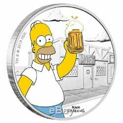 2019 The Simpsons Homer & Bart 1oz Silver Proof Coin Perth Mint