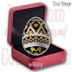 2019 Vegreville Ukrainian Pysanka $20 Pure Silver Proof Egg-Shaped Coin