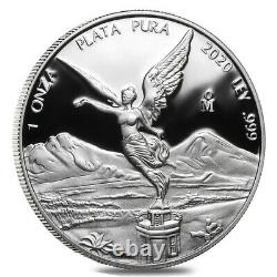 2020 1 oz Mexican Silver Libertad Coin. 999 Fine Proof (In Cap)