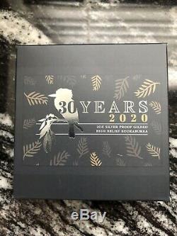2020 Australia Kookaburra 2 oz SIlver Gilded High Relief Proof Coin 1,000 Minted