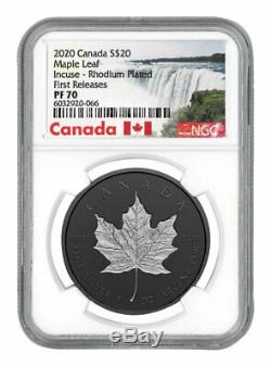 2020 Canada $20 1 oz Incuse Silver Maple Leaf Black Proof Coin NGC PF70 FR COA