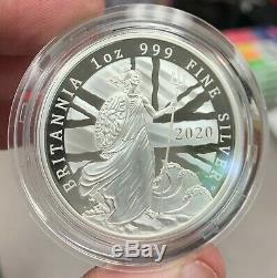 2020 Great Britain £2 Britannia Proof 1 oz 9999 Silver Coin 4660 Made OGP