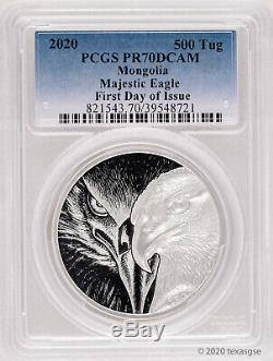 2020 Mongolia 500 Togrog Majestic Eagle 1oz. 999 Silver Proof Coin PCGS PR70 FDI