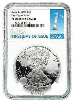 2020 S 1oz Silver Eagle Proof NGC PF70 Ultra Cameo First Day Issue Label