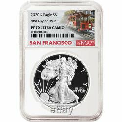 2020-S Proof $1 American Silver Eagle NGC PF70UC FDI Trolley Label