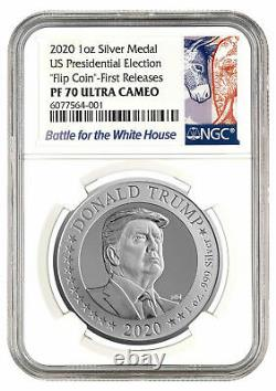 2020 US Presidential Election Flip Coin 1 oz Silver Proof NGC PF70 UC FR