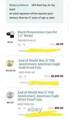 2020 V75 End World War II 75th Anniversary American Eagle Gold & Silver Coin
