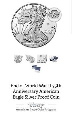 2020 W END of WORLD WAR II 75th ANNIVERSARY AMERICAN EAGLE Silver Coin CONFIRMED