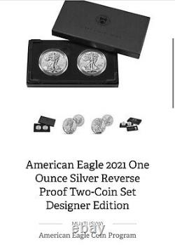 2021 American Silver Eagle Reverse Proof Two Coin Set Designer Edition 2 Oz
