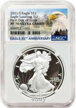 2021 S Proof $1 American Silver Eagle, Type 2, Ngc Pf70uc Fdoi, Eagle/mtn Label