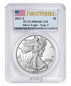 2021 S Proof American Silver Eagle Type 2 PCGS PR69 DCAM FS Flag Label PRESALE