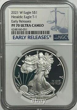 2021 W $1 Ngc Pf70 Er Ultra Cameo Early Release Proof Silver Eagle Heraldic T-1