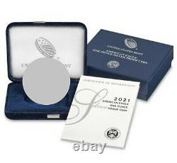 2021 W Proof Silver Eagle, Heraldic T-1, Ngc Pf70uc, Brown Label