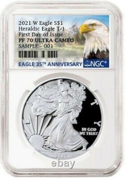 2021 W Proof Silver Eagle, Heraldic T-1, Ngc Pf70uc Fdio, Limited Mintage