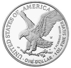 2021 W Proof Silver Eagle, Heraldic T-2, Purchased Directly From Us Mint
