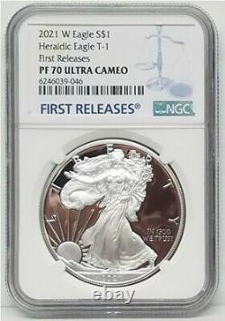 2021 W Proof Silver Eagle, Heraldic Type 1, Ngc Pf70uc First Release, Rare
