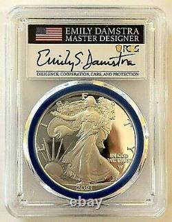 2021-w Advanced Release Type 2 Proof Silver Eagle-pcgs Pr70-emily Damstra