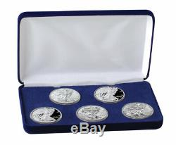 5 Piece Set 2019 $1 1 oz American Silver Eagle BU + Proof Coins in Box SKU59298