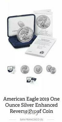 6 X 2019 S AMERICAN EAGLE ONE OUNCE SILVER ENHANCED REVERSE PROOF COIN Confirmed