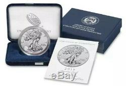 American Eagle 2019 One Ounce Silver Enhanced Reverse Proof Coin In Hand