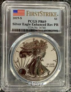 American Eagle 2019 One Ounce Silver Enhanced Reverse Proof Coin PCGS/PR69