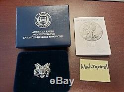 American Eagle 2019-S Silver Enhanced Reverse Proof Coin 19XE COA #06257