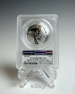 Apollo 11 Silver 1oz Coin -1st Day Launch- Signed by Buzz Aldrin -PCGS PR70DCAM