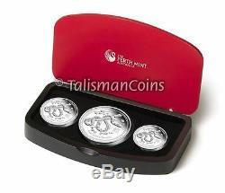 Australia 2013 Year Snake Lunar Zodiac 3-Coin $1 Pure Silver Dollar Proof Set