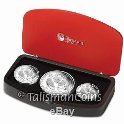 Australia 2017 Year of Rooster Chinese Lunar Zodiac 3 Coin Pure Silver Proof Set