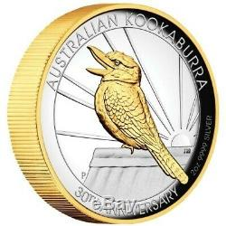 Australian Kookaburra 2020 2oz Silver Proof Gilded High Relief Coin IN HAND