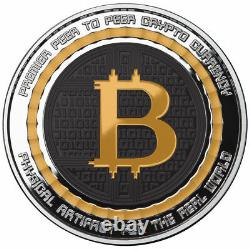 BITCOIN VALUE CONVERSION 1 oz. 999 Solid Silver Proof Round Color Coin With COA