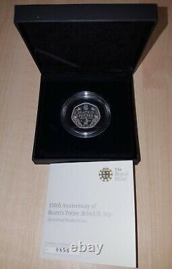Beatrix Potter 150th Anniversary Silver Proof PIEDFORT 50p Coin 2016 with CoA