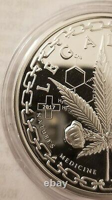 Cannabis marijuana pot 1 oz. 999 silver proof coin legalized Colorado #1000/1000
