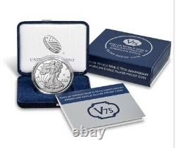 END of WORLD WAR II 75th ANNIVERSARY AMERICAN EAGLE SILVER PROOF Coin V75 SEALED