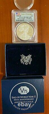 End of World War II 75th Anniversary American Eagle Silver Proof Coin PCGS PR70