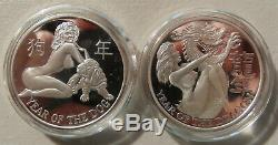 Full Set. 999 Nude Silver Proof Coin Art Rounds Chinese New Year / Asian Zodiac