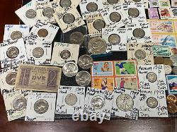 Huge Lot 500+ Coin$/StampSilver Note/Mercury Dimes/IKE/Buffalo/Indian/WL/Proof+