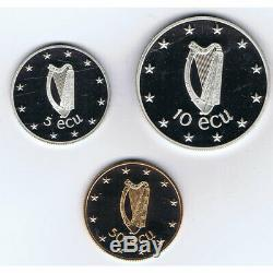 Ireland Eire Coin Silver and Gold 5 10 50 ECU 1990 Proof with Box Gold Silver