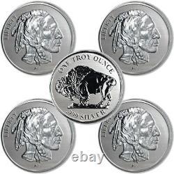 Lot of 5 Asahi Refining 1 oz Reverse Proof Buffalo Fine Silver. 999 Round NEW